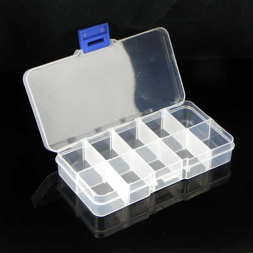 10 Grids Transparent Adjustable Slots Jewelry Bead Organizer Box Storage
