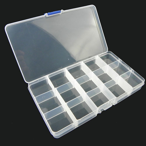 15 Grids Transparent Adjustable Slots Jewelry Bead Organizer Box Storage