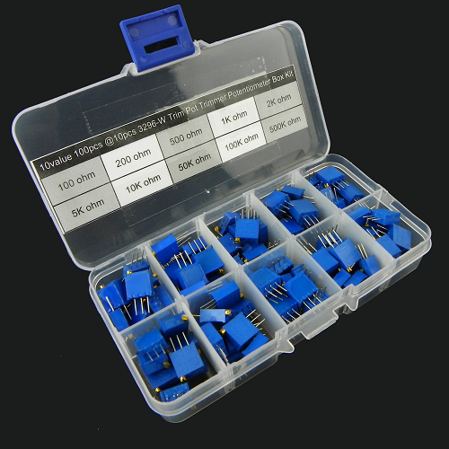 10value 100pcs 3296 Trim Pot Trimmer Potentiometer Assortment Box Kit KIT0061