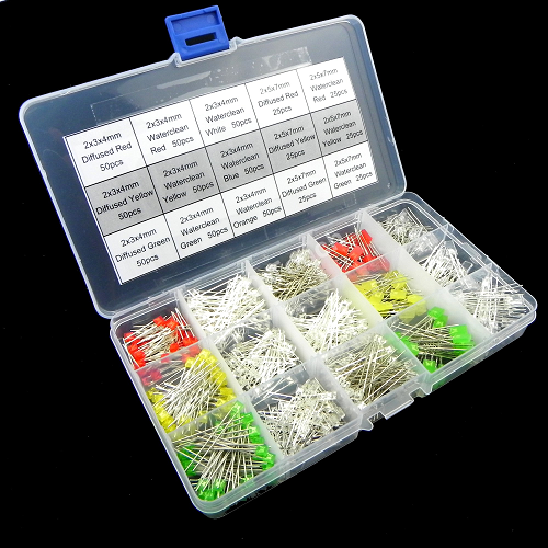15value 600pcs R,Y,G,O,B,W Diffused Waterclean Rectangle LED Assortment Box Kit KIT0070