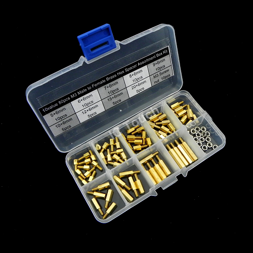 10value 80pcs M3 Male to Female Brass Hex Spacer Assortment Box Kit KIT0131