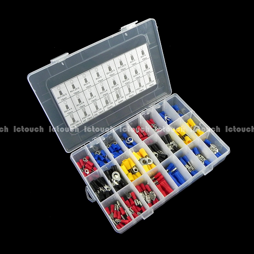24value 240pcs Insulated Crimp Connector Wiring Terminal Assortment Box Kit KIT0169