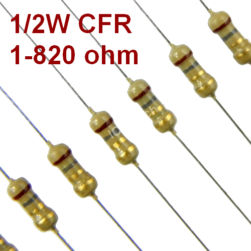 1 - 820 ohm 1/2W Carbon Film Resistor +/-5% 0.5W (More options)